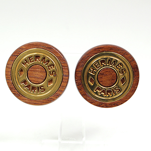 Hermes HERMES Serie Wood Earrings GP Brown Gold Diameter 3.2cm