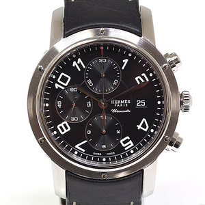 HERMES Hermes Men's Watch Clipper Chronograph Mechanical CP1.910 Black (Black) Dial Automatic