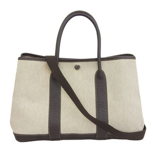 Genuine HERMES Hermès Toile Ash Garden Party 2way Bag Beige □ M Stamped Leather