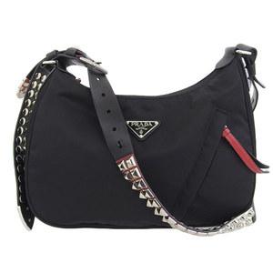 Genuine PRADA Prada studs leather nylon hobo bag black X red 1BC087