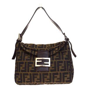 Fendi Zucca Unisex Nylon,Leather Shoulder Bag Brown
