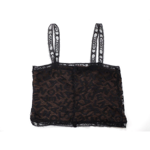 CHANEL Chanel Ladies Logo Pattern Lace Bustier Black Brown 38 20190829