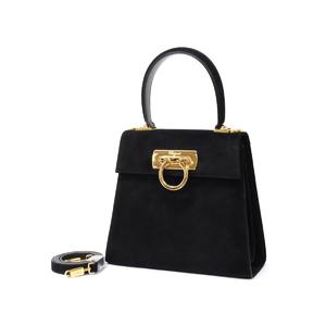 Salvatore Ferragamo suede gancini 2 way handbag shoulder black 20190829