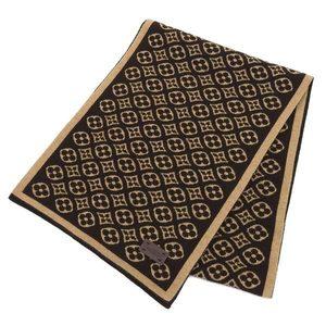 LOUIS VUITTON Louis Vuitton Escharpsky Monogram Flower Cashmere Knit Muffler Maron Brown Ladies