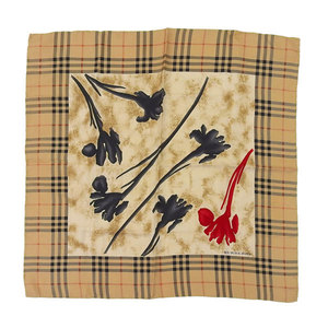 BURBERRY LONDON Burberry Silk Check x Floral Scarf Beige Black Red