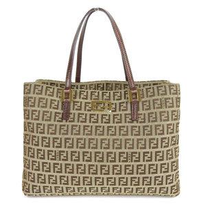 Fendi FENDI canvas × leather zucchino pattern handbag beige ladies * BG