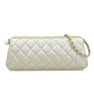 Chanel CHANEL Leather Chain Clutch Bag Gold 23s Ladies * BG
