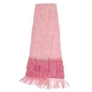 LOEWE LOEWE Spain Made Anagram Mohair Wool Scarf Pink Ladies