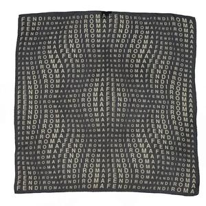 Fendi FENDI Made in Italy Total Pattern Logo Silk 100% Scarf Ladies Black