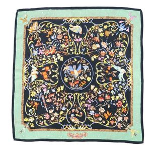 Hermes HERMES France Made Ladies Carre 90 Scarf PIERRES d 'ORIENT et d' OCCIDENT (Oriental and Western Stonework) Black Light Green