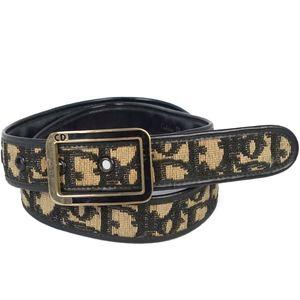 Christian Dior Ladies Belt Trotter Pattern Made in France Black Brown Vintage