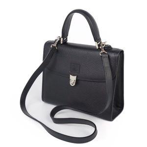 Burberry Burberrys 2way All Leather Back Check Shoulder Bag Handbag Black Vintage
