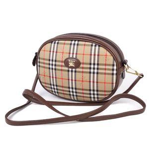 Burberry Women's Horse Ferry Check Shoulder Bag Canvas Leather Beige Ladies 鞄 Vintage