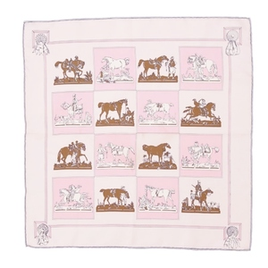 Hermes HERMES France Made Ladies Carre 40 Silk 100% Scarf Horse Pink