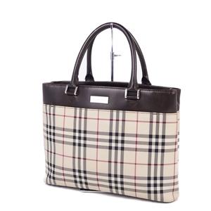 Burberry BURBERRY Check Leather Handbag Business Bag Ladies Brown Light Beige
