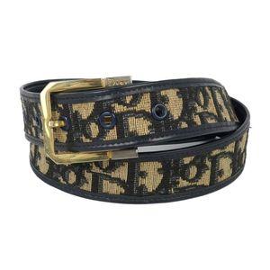 Christian Dior Ladies Belt Made in France Trotter Pattern Black Brown Vintage
