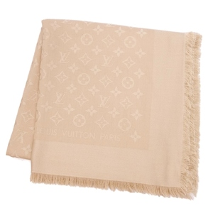 Louis Vuitton LOUIS VUITTON monogram shawl stall silk wool beige ladies made in Italy domestic regular goods