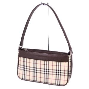 Burberry BURBERRY Ladies Check Semi Shoulder Bag Canvas Leather Light Beige