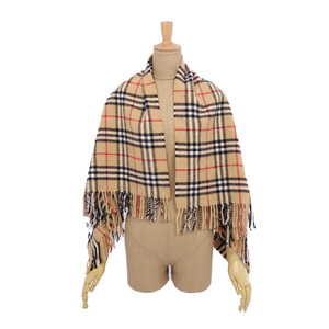 Burberry London BURBERRY LONDON Ladies Check Wool Scarf Shawl Beige System Made in Japan