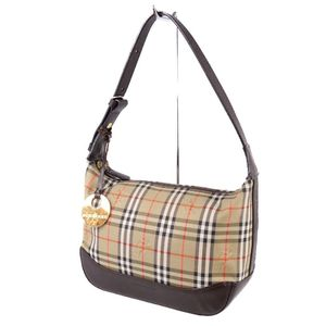 Burberry BURBERRY Ladies Horse Ferry Check Semi Shoulder Bag Canvas Leather Beige