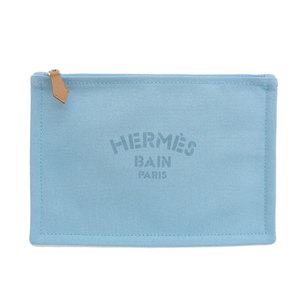 Hermes HERMES Yachting PM flat pouch cotton canvas blue
