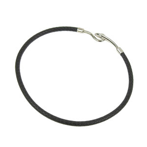 HERMES HERMES Jumbo Choker Braided Leather Bracelet Black