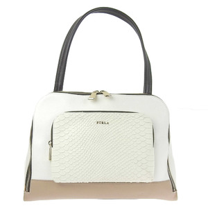 Furla FURLA handbag leather white beige