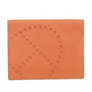 HERMES HERMES Evelyn Card Case Folded Shawl Orange □ O stamp