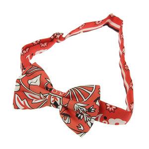 Hermes HERMES NOEUD PAPILLON Flower Blooming Fabric Mini Bowtie Bow Tie Silk Red
