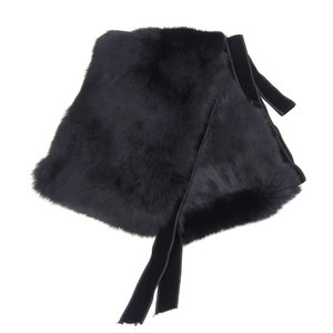Gucci GUCCI current logo Interlocking muffler black UD0106 tippet stall with Lapin fur