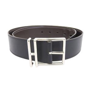 Hermes HERMES Reversible Leather Belt Nathan 85cm Box Calf Palladium Plated Buckle Brown x Black