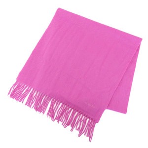 Hermes HERMES with tag Current 100% cashmere logo embroidery Large format muffler Fuchsia pink