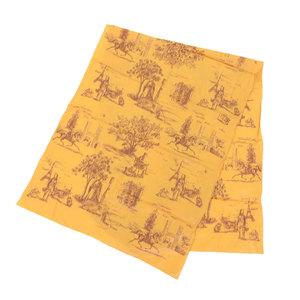 Hermes HERMES current brown tag silk 100% long scarf H logo stall orange x