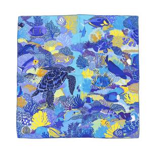 Hermes HERMES 100% silk UNDER THE WAVES 90 scarf under the wave underwater pattern blue yellow