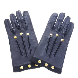 Hermes HERMES Serie buttoned lambskin leather ladies 1-2 use fall / winter gloves glove 7 1/2 black gold hardware