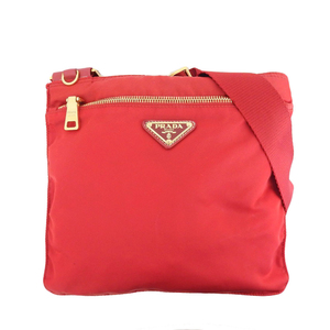 Prada PRADA current MIRANO tag nylon crossbody shoulder bag red 1BH978 outside pocket × 1
