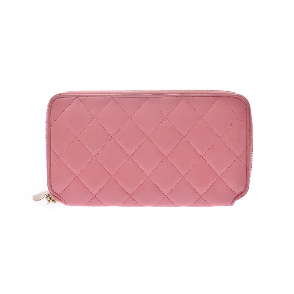 シャネル(Chanel) シャネル マトラッセ ラウンドファスナー長財布 ピンク ハート型プル レディース ラムスキン Bランク CHANEL ギャラ 中古 銀蔵