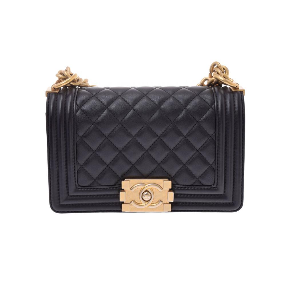 シャネル(Chanel) シャネル ボーイシャネル チェーンショルダーバッグ スモール 黒 G金具 レディース ラムスキン Aランク CHANEL ギャラ 中古 銀蔵