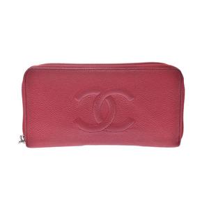 シャネル(Chanel) シャネル ラウンドファスナー長財布 赤 SV金具 レディース キャビアスキン Bランク CHANEL 中古 銀蔵