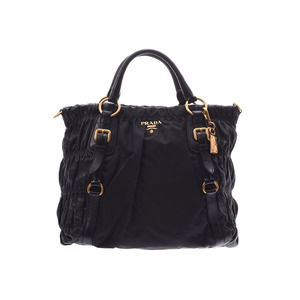 Prada 2WAY Handbag Black GP Hardware Ladies Nylon / Nappa