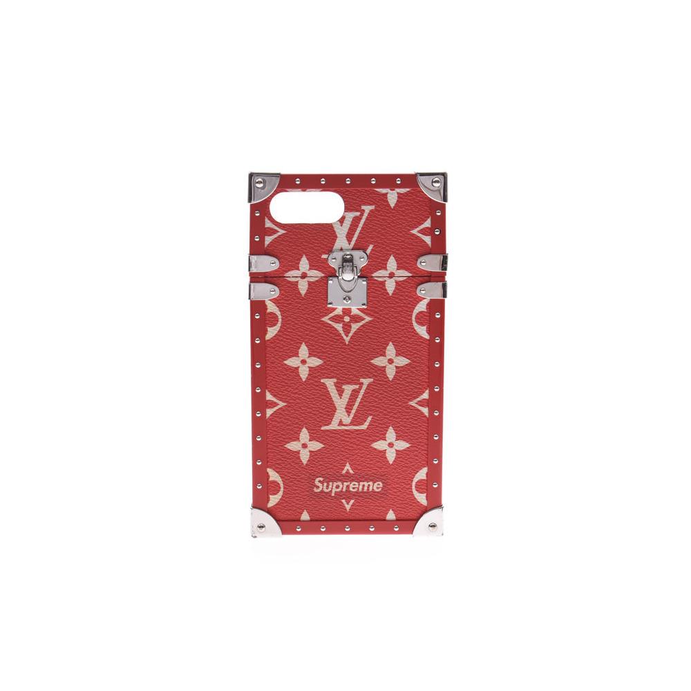 (Unspecified) ルイヴィトン アイ トランク iPhone7+ Supremeコラボ 赤 M67758 メンズ レディース 本革 スマホケース ABランク LOUIS VUITTON 中古 銀蔵