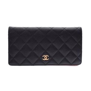 シャネル(Chanel) シャネル マトラッセ 二ツ折長財布 黒 G金具 レディース キャビアスキン Bランク CHANEL 中古 銀蔵