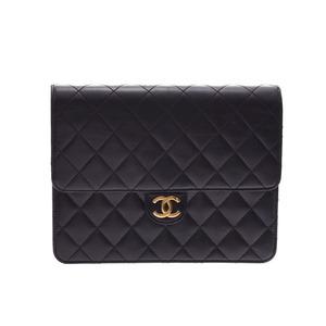 シャネル(Chanel) シャネル マトラッセ チェーンショルダーバッグ プッシュロック 黒 G金具 レディース ラムスキン ABランク  CHANEL 箱 ギャラ 中古 銀蔵