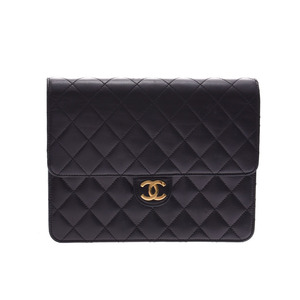 Chanel Matrasse Chain Shoulder Bag Push Lock Black G Metal Ladies Lambskin AB Rank CHANEL Box Gala Used Ginzo