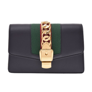 Gucci Sylvie Mini Chain Shoulder Bag Navy G Metal Ladies Calf Shinto Beauty GUCCI Box Used Ginzo