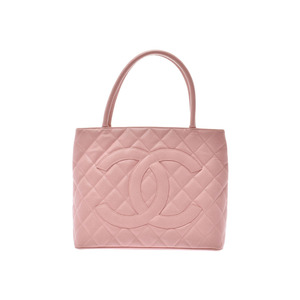 Chanel Reprint Tote Bag Pink G Hardware Ladies Caviar Skin B Rank CHANEL Used Ginzo