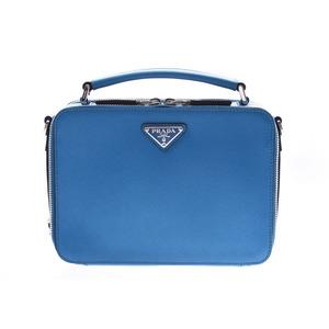 Prada 2WAY Handbag Blue 2VH069 Men's Women's Saffiano New Beauty Goods PRADA Gala Strap Used Ginzo