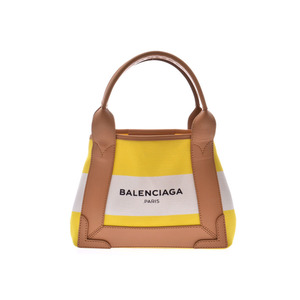 Balenciaga Navy Hippo XS Yellow / White Ladies Canvas Leather 2WAY Handbag A Rank Goods BALENCIAGA