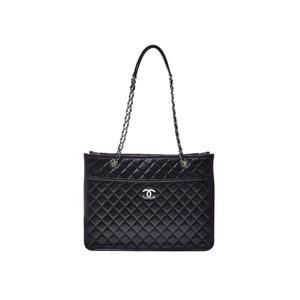CHANEL Matelasse large shopping black SV hardware women's calf shoulder bag