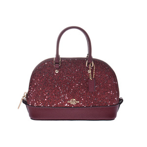 COACH 2WAY Shoulder Bag Mini Sierra Bordeaux F22891 Women's Leather / Lame A Rank Beautiful Goods With Strap Used Ginzo